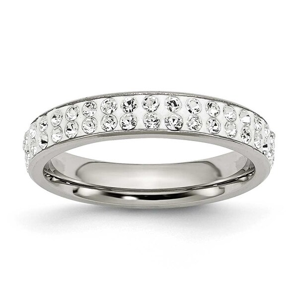Chisel Stainless Steel 4mm Polished Crystal Ring