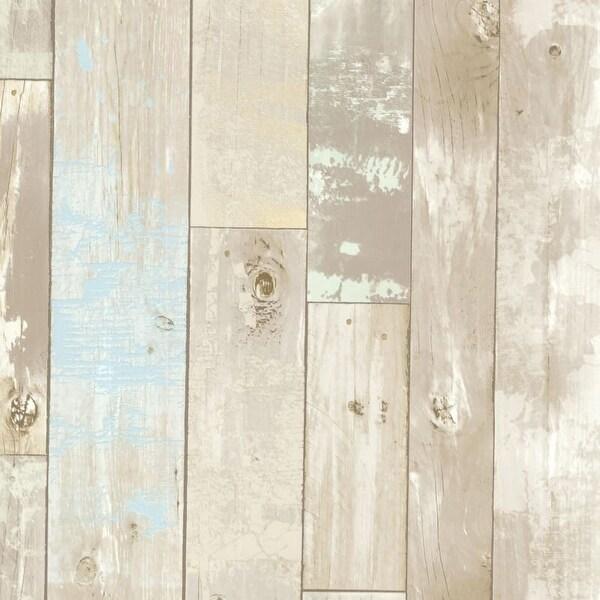 Brewster 2532-20440 Dean Neutral Distressed Wood Panel Wallpaper - N/A