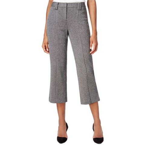 bar III Womens Knit Cropped Flare Dress Pants, black, 12