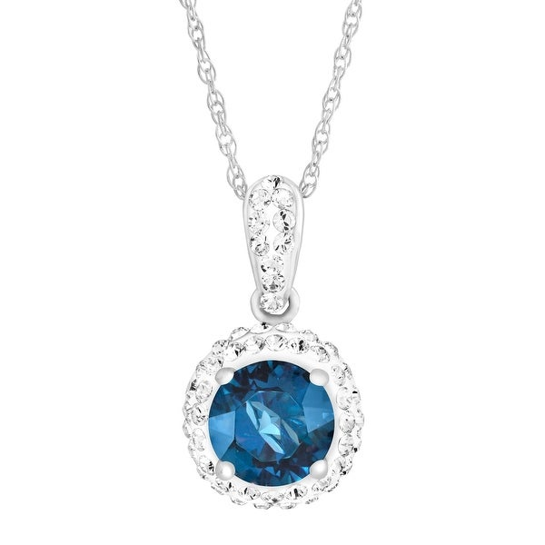 Crystaluxe September Pendant with Royal Blue Swarovski elements Crystals in Sterling Silver