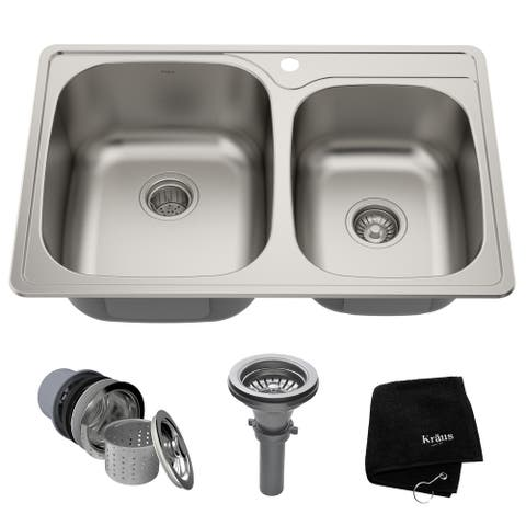 KRAUS Stainless Steel 33 inch 60/40 Topmount Drop-in Kitchen Sink