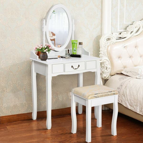 White Vanity Makeup Dressing Table With Rotating Mirror On Sale Overstock 28422303