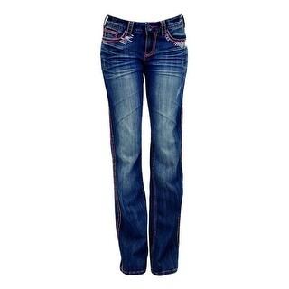 Cowgirl Tuff Western Denim Jeans Women Southwest Vibe Aztec Med