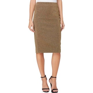 Catherine Malandrino Womens Pencil Skirt Metallic Lined - 6