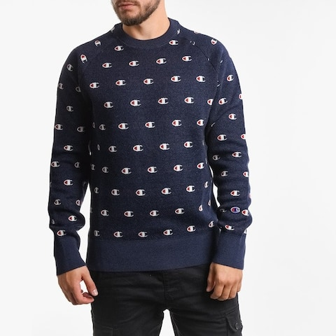 Champion Logo Crewneck Reversed Weaved Sweatshirt Navy - Large