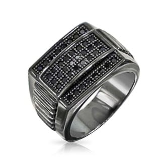 Bling Jewelry Sterling Silver Black Rhodium CZ Mens Championship Ring