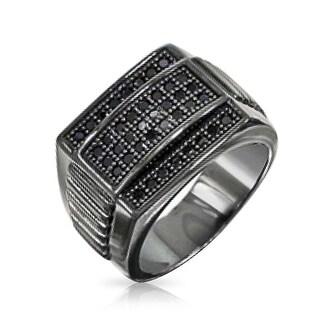 Bling Jewelry Sterling Silver Black Rhodium CZ Mens Championship Ring