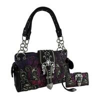 Moonlight Camo Rhinestone Buckle Studded Concealed Carry Purse/Wallet Set