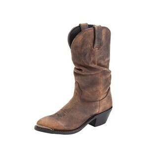 """Durango Western Boots Womens 12"""" Slouch Cowgirl Round Tan"""