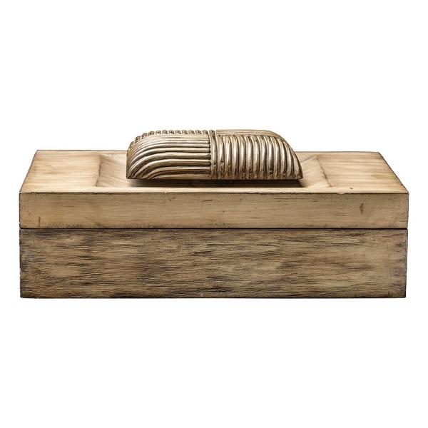 "16"" Tan Driftwood Keepsake Box with a Hinged Lid and Handle - N/A"