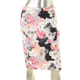 State of Being Womens Blackout Blooms Stretch Floral Print Pencil Skirt