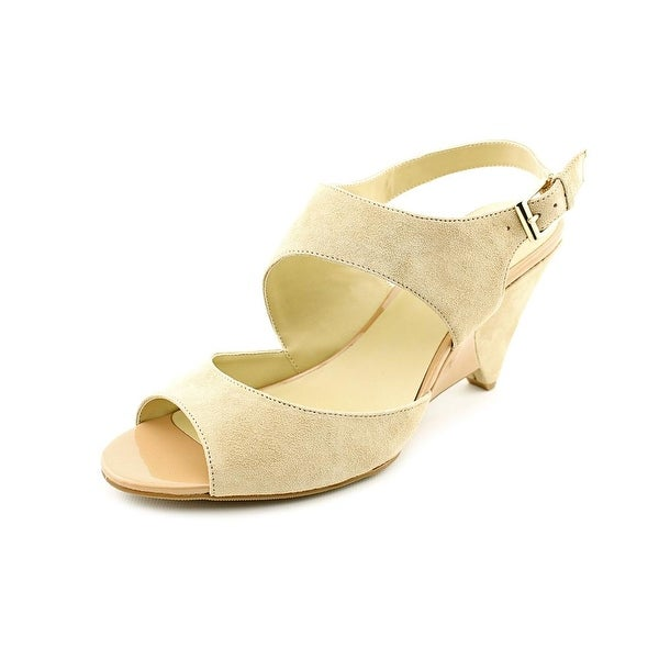 INC International Concepts Fama Open Toe Suede Wedge Heel