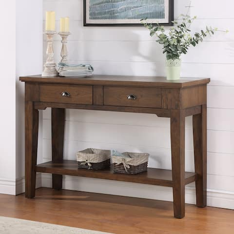 Copper Grove Ohey Warm Walnut 2-drawer Serving Table