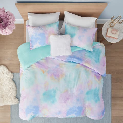 Karissa Aqua Watercolor Tie Dye Printed Duvet Cover Set by Intelligent Design
