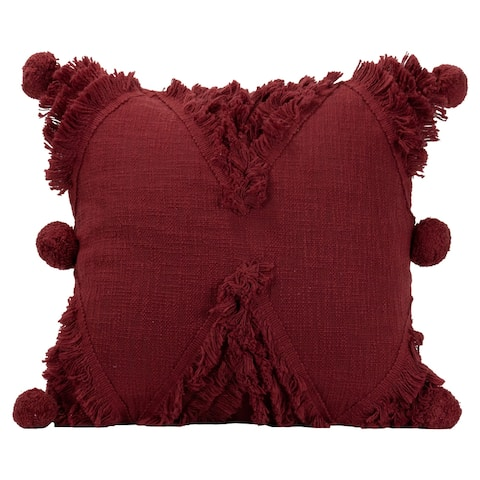 """Foreside Home & Garden Diamond Motif Hand Woven 18x18"""" Decorative Cotton Throw Pillow with Fringe Shag and Pom Poms"""