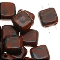 CzechMates Glass 2-Hole Square Tile Beads 6mm 'Umber Picasso' (1 Strand)