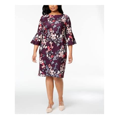 CALVIN KLEIN Womens Purple Floral Bell Sleeve Boat Neck Knee Length Sheath Cocktail Dress Plus Size: 18W