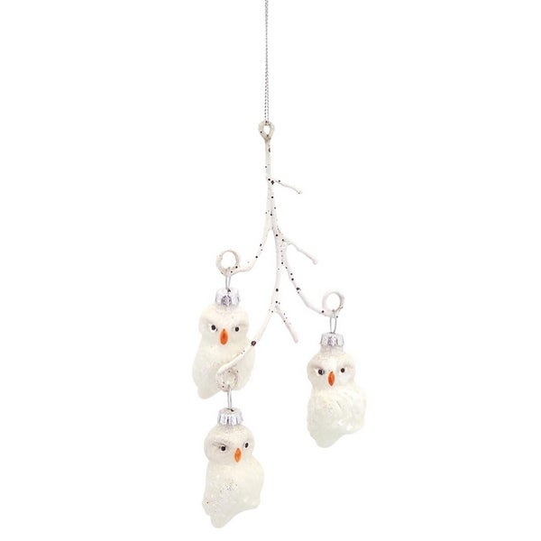 Pack of 6 Woodland Owl on Branch Embellished Glass Christmas Ornaments 8""
