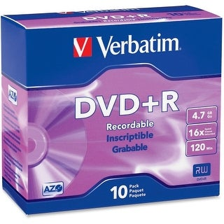 """Verbatim 95097 Verbatim AZO DVD+R 4.7GB 16X with Branded Surface - 10pk Slim Case - 2 Hour Maximum Recording Time"""