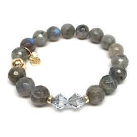Grey Labradorite 'Paris' Stretch Bracelet, Swarovski Crystal 14k over Sterling Silver