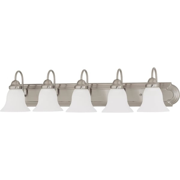 "Nuvo Lighting 60/3282 Ballerina 5 Light 36"" Wide Vanity Light with Frosted White Glass Shades - Brushed nickel"
