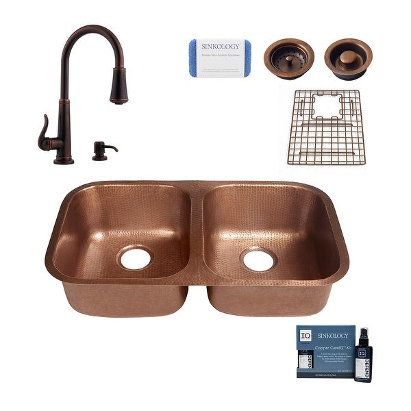 """Kandinsky 32.25"""" Undermount Copper Kitchen Sink with Ashfield Faucet and Drains. Opens flyout."""