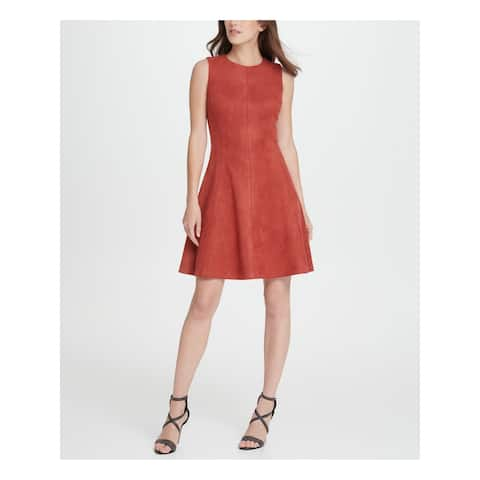 DKNY Orange Sleeveless Above The Knee Fit + Flare Dress Size 16