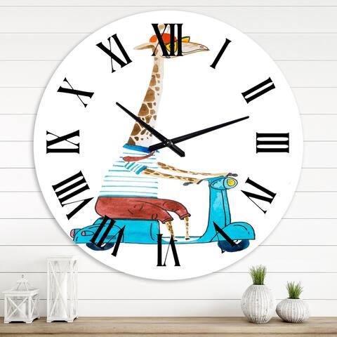 Designart 'Giraffe Dressed Up Wearing Helmet & Riding Scooter' Children's Art wall clock