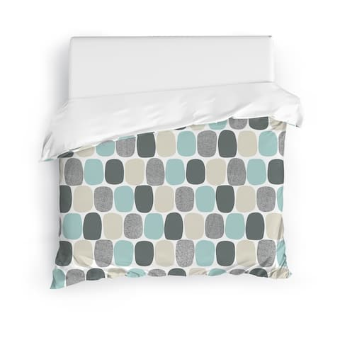 MID CENTURY OVALS TEAL Duvet Cover by Kavka Designs