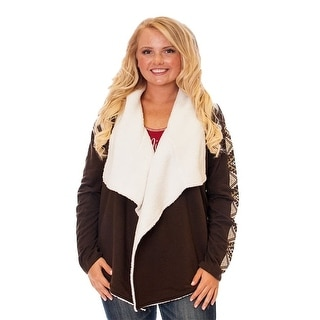 Cowgirl Tuff Western Sweater Womens L/S Wrap Cardigan Chocolate F00358