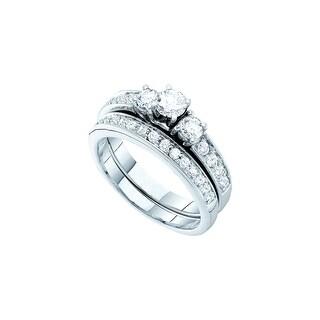 1 Ct Diamond 1/3Ct Center Round Bridal Set Yellow-Gold 14K