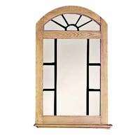 Vanity Mirror Windowpane Arch Honey Pine 39 Inch