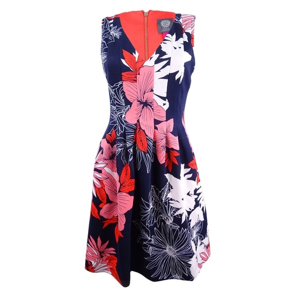96b7c81d4bc5 Shop Vince Camuto Women's Floral-Print Scuba Fit & Flare Dress (4,  Navy/Red) - Navy/Red - 4 - Free Shipping Today - Overstock - 21507779