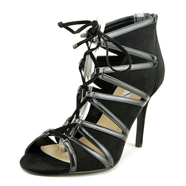 Nina Carlyle Women Open-Toe Synthetic Black Heels