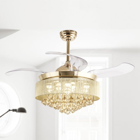 46-inch Gold LED Crystal Ceiling Fan with Remote and Light Kit