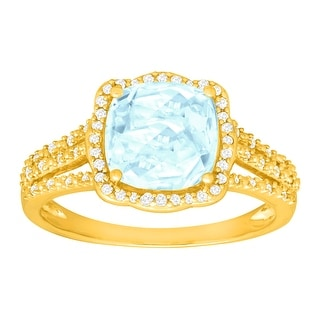 1 7/8 ct Natural Aquamarine & 1/6 ct Diamond Ring in 14K Gold - Blue