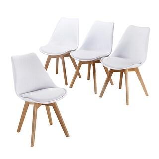 VECELO Dining Chairs Modern Style Wood Leg Polyurethane Chair (Set of 4)