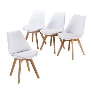 VECELO Office Chairs Modern Style Wood Leg Chair (Set of 4)
