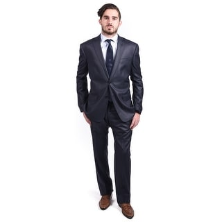 Versace Men's Pinstriped Wool Polyester Blend 2-Button Suit Navy - 42r (eur 52)