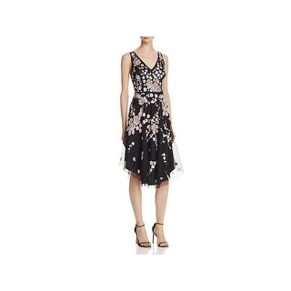 Aidan Mattox Womens Casual Dress Embroidered Double V