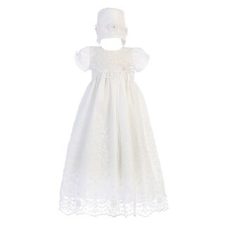 Baby Girls White Embroidered Tulle Sofia Gown Bonnet Christening Set 0-18M