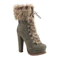 Luichiny Women's Stand By Bootie Army Imi Suede/Fur