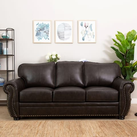 Abbyson Richfield Brown Top-Grain Leather Sofa