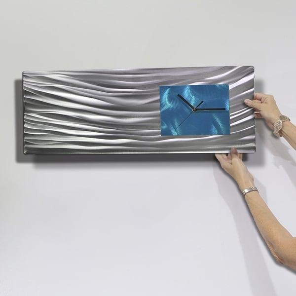 Statements2000 Modern Metal Wall Clock Art Aqua Silver by Jon Allen Ocean Energy