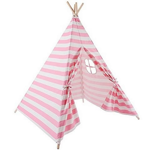 Natural Cotton Canvas Teepee Tent for Kids Indoor & Outdoor Use