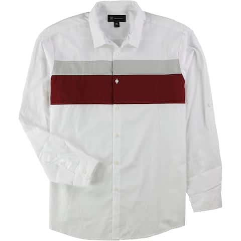 I-N-C Mens Colorblocked Button Up Shirt, Multicoloured, X-Large