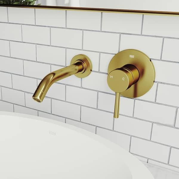 Vigo Olus Wall Mount Bathroom Faucet In Matte Brushed Gold Overstock 30237346