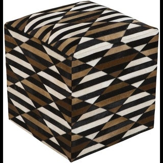 """18"""" Black, Chocolate Brown and Ivory Striped Leather Square Pouf Ottoman"""