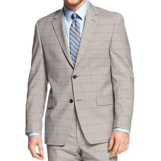 Shaquille O'Neal Mens Big & Tall Two-Button Blazer Wool Plaid