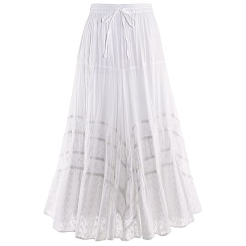 d4e63db14 Catalog Classics Women's Embroidered Full Circle Maxi Skirt - White  Tone-on-Tone